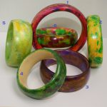 Wood bangles handmade in bright colours