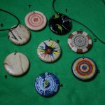 wood pendants handmade and painted