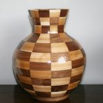 Wood segmented Vase in walnut and maple
