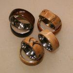 Wood rings turned on a wood lathe