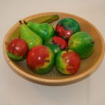 wood bowl and painted wood fruit
