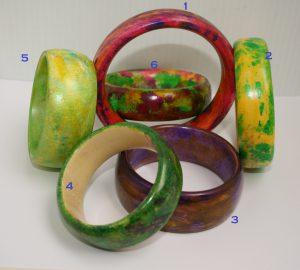 Wood Bangles coloured