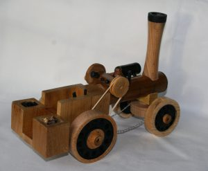 wooden traction engine handmade on wood lathe