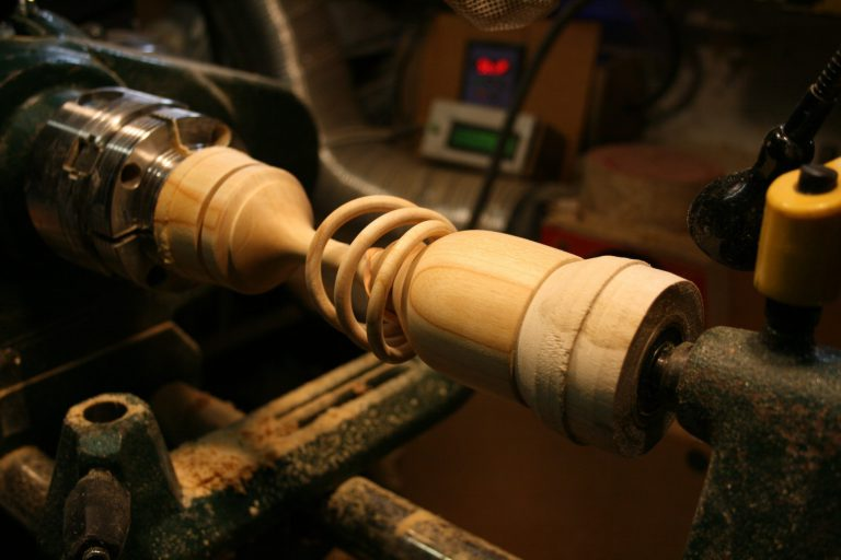 Goblet steady in use on woodturning lathe