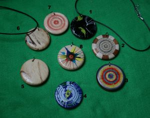 wood pendants handmade and painted