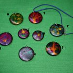pendant in wood handmade and painted