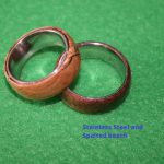 rings spalted beech on stainless steel handmade