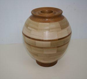 Wood Vase in Teak and Poplar handmade