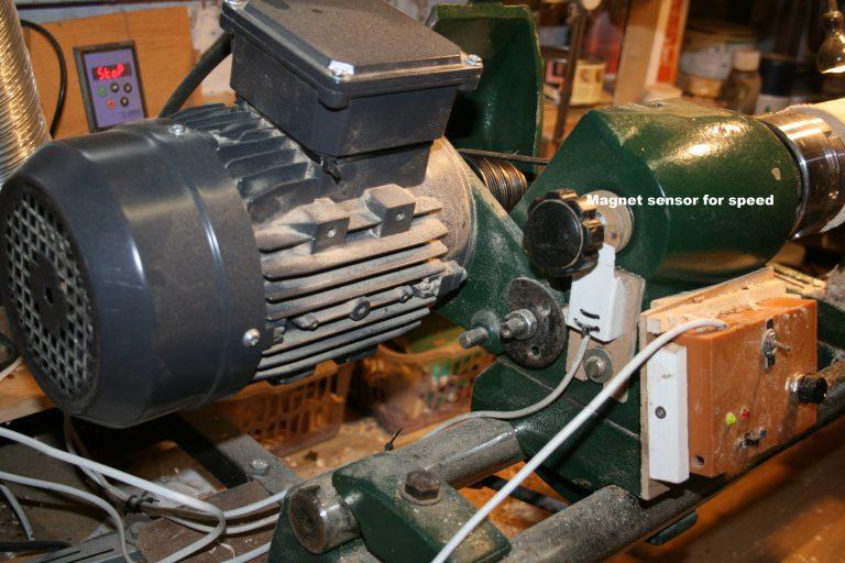Lathe motor speed sensor