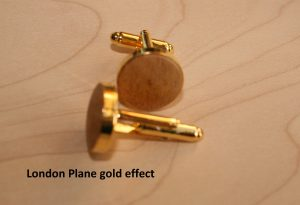Handmade cufflinks in London Plane wood