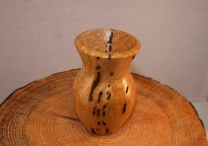Vase in ash with included bark