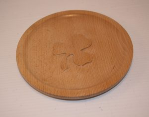 Beech plate with carved shamrock