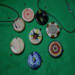 Painted wood pendants